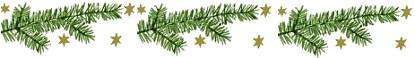 Weihnachtliche Deko aus Tannenzweigen und goldenen Sternen